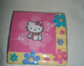 "Vintage 90s Hello Kitty Paper Beverage Napkins, package of 16, 9.78"" x 9.78"""