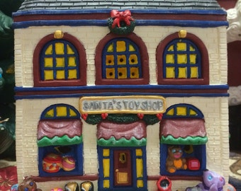 Ceramic painted Santa's workshop