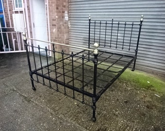 REDUCED PRICE****Antique Victorian Cast Iron & Brass Double Bed/Vintage/1837-1901