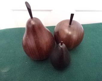 Vintage Wooden Fruit 3 Pieces