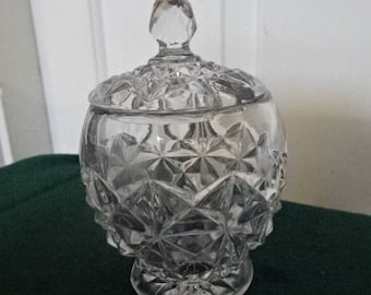 Very Cute Pressed Cut Glass Sugar Pot with Lid/Mustard pot/Vintage