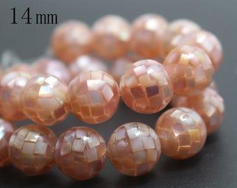 14mm Natural Pink Abalone Mosaic Round Beads