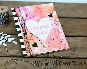 Watercolor and hearts thank you card