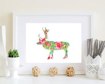 Moose art print - Floral Moose art, Flower deer art, floral moose poster, digital moose art, digital deer art, pink moose art, moose poster