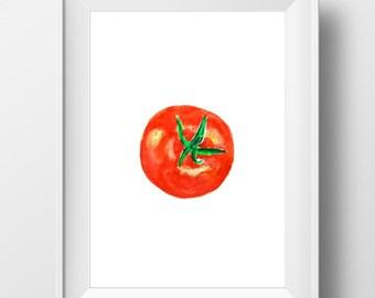 Red Tomato Art, Tomato Watercolor, Tomato Painting, Kitchen Wall art, Tomato Print, Farm Art, Veggie Artwork, Vegetable Art