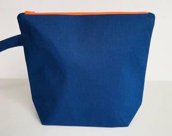 Medium Knitting Project Bag - Blue Linen