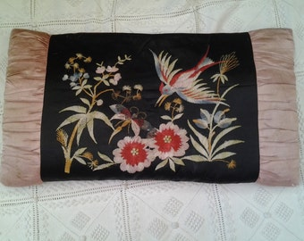 Embroidered FRENCH antique boudoir cushion