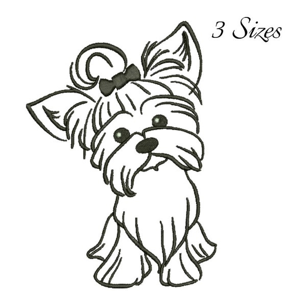 Yorkshire terrier embroidery design machine