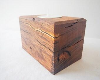 Jarrah hardwood single long tealight candle holder
