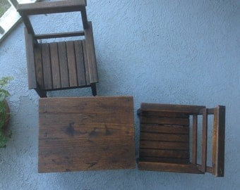 Three piece solid wood children's table and chairs