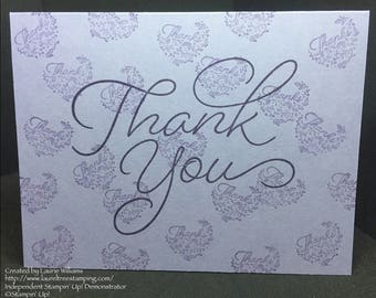 Thank You Card, Handmade Card, Thank You From All of Us Card, Elegant Thank You Card, Purple Thank You Card, Stampin' Up! Designs