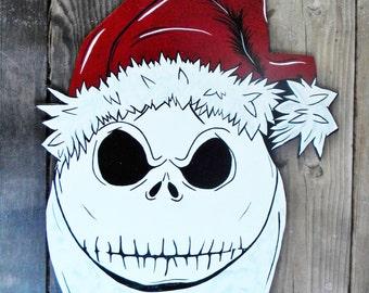 Nightmare Before Christmas Inspired,Door Hanger, Jack Skellington, Santa Clause, Door Decor, Christmas Decor,Christmas Wreath, Holiday Decor