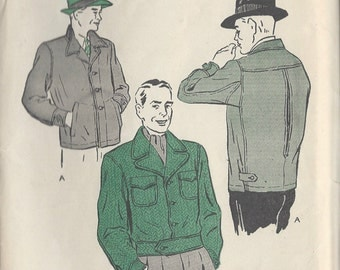 "1940s Vintage Sewing Pattern MEN'S JACKET C38""-40"" (R267) Butterick 3327"