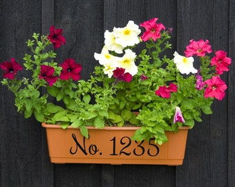 House numbers, house number decal, vinyl flower pot, house number vinyl, decals for flower pots, address vinyl, vinyl house number