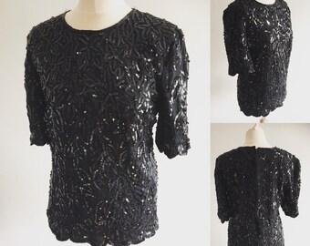 Vintage Frank Usher Black Shell Sequin Top - UK Size 12/US Size 8