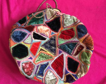 Vintage 1930s Handmade Patchwork Circular Bag - Make Do And Mend