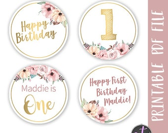 Floral Birthday Cupcake Toppers Pink Party Supplies Name