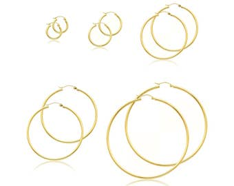 10K Yellow Gold Round Hoop Earrings 2.0mm 13-75mm - Classic Polished Plain Tube