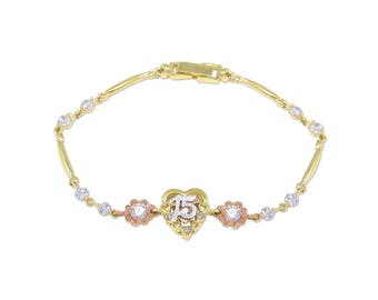 10K Solid Yellow Rose Gold Cubic Zirconia Heart Sweet 15 Bracelet - Flower Quinceanera Anos Birthday