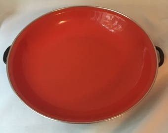 Enamel Pan, Enamel Serving Dish, Orange/Red, With Handles, 10 inch diameter