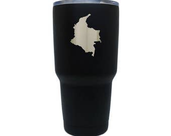 Colombia Black Stainless Steel Tumbler, 30 Oz Insulated Tumbler, Laser Etched In Usa