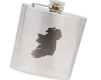 Ireland 6 Oz Flask, Stainless Steel Body, Handmade In Usa