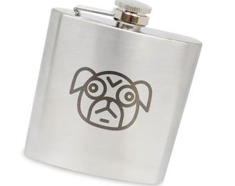 Pugface 6 Oz Flask, Stainless Steel Body, Handmade In Usa