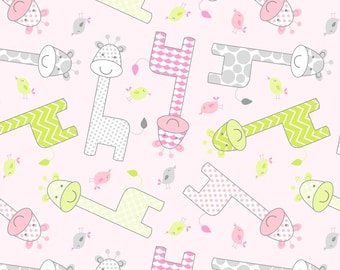 New! Baby Giraffe-Pink Anti-Pill Fleece by the yard - Pink /David Textiles/Free shipping available/baby fabric/baby fleece/giraffe