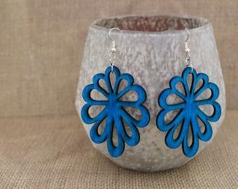 Earrings / Wood Earrings / Lime Green Earrings / Blue Earrings / Flower Earrings / Natural Earrings
