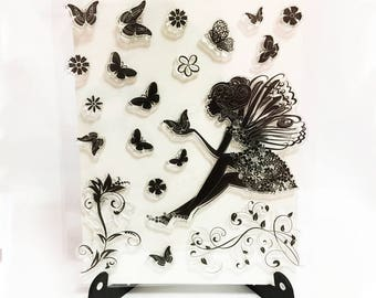 Fairy Stamp, Fairies Clear Transparent Stamp, Magical Rubber Stamp, Butterfly Planner Journal Accessories, Wings Stamp, Pixies, Butterflies