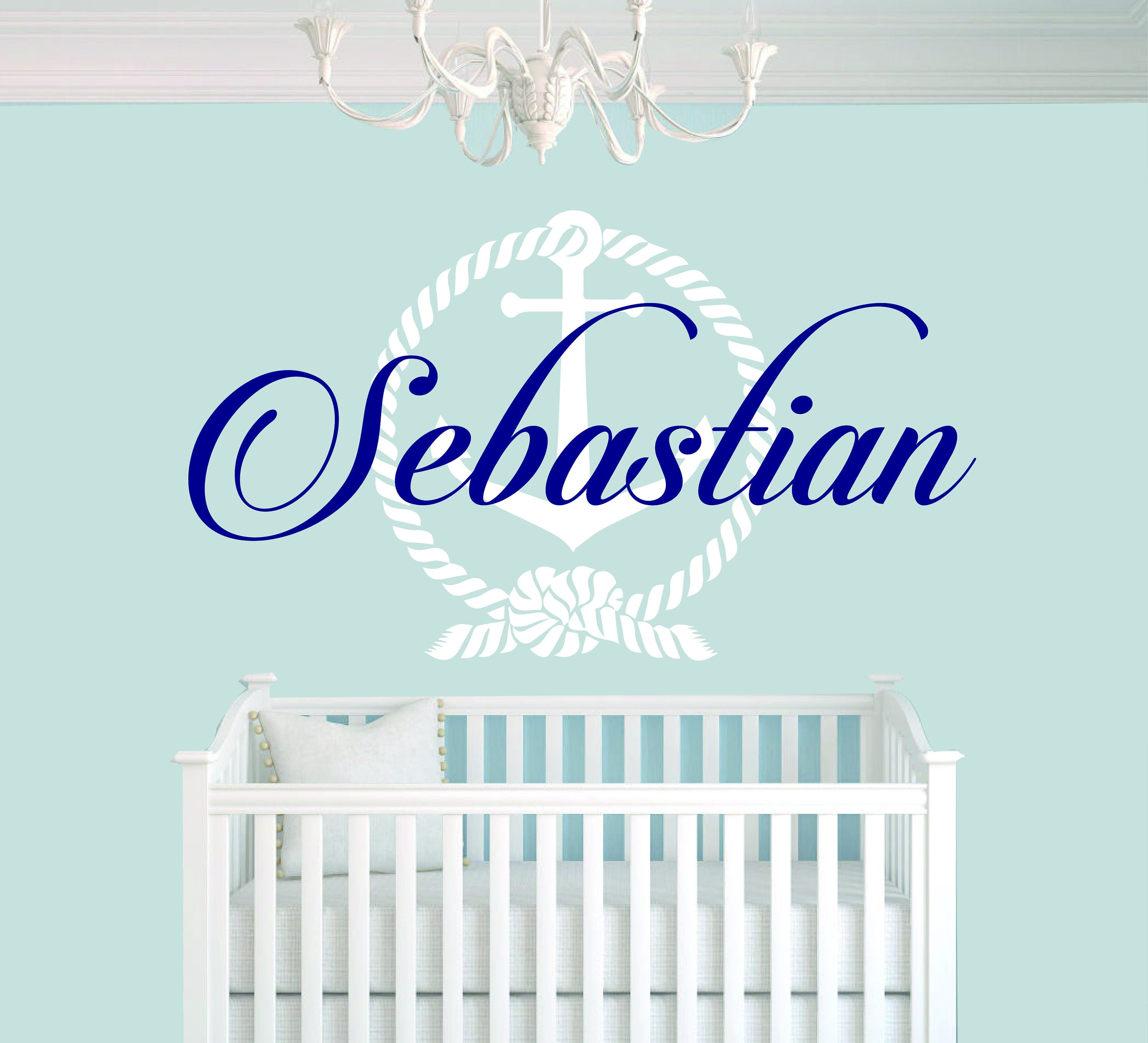 Personalized name anchor baby boy room nursery mural wall decal personalized name anchor baby boy room nursery mural wall decal sticker for home bedroom amipublicfo Images