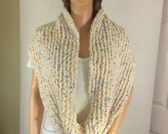 infinity scarf, versatile accessory, cream scarf, snuggly scarf, microfiber scarf, adaptable scarf, feminine scarf, affordable accessory,