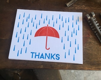 Thanks for the Umbrella - letterpress thank you card