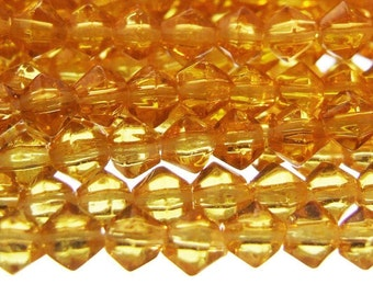 115 + Small Glass Bicone Beads Golden Amber Yellow 3mm 14'' Strand