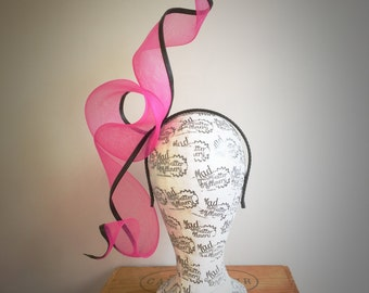 Pink & Black Crinoline Fascinator Headpiece