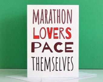 Marathon card, marathon lovers card, printable marathon card, marathon lovers downloadable card, funny marathon card