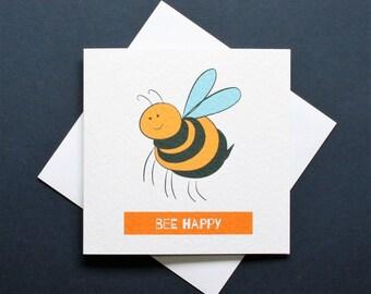 Bee happy card, be happy, happy bee card, cheerful bee card, funny bee card, Trevor the bee
