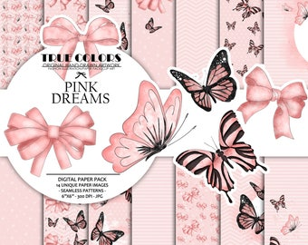 Pink dreams Baby Girl Paper Pack Fashion Illustration Planner Sticker Supplies Seamless Pink Black Butterfly Butterflies Ribbon Watercolor