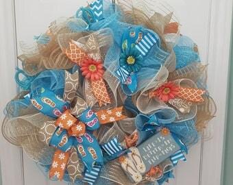 Life is better in flip flops deco mesh wreath