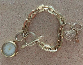 Heart and Key Chain Watch