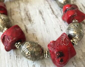 Coral & Vintage Silver Necklace