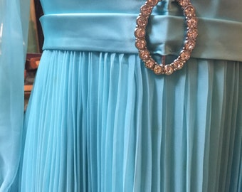 Aqua Party Royalty: a 1960s/1970s Party Dress