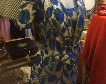 1960s gold and blue brocade stunner