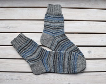 Knitted men's socks Wool striped socks Casual men's socks Rustic wool socks Mens warm socks Gift for men