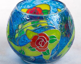 Glass Candle Holder, Hand Painted Glass Bowl, Koi Fish, Decorative Fish