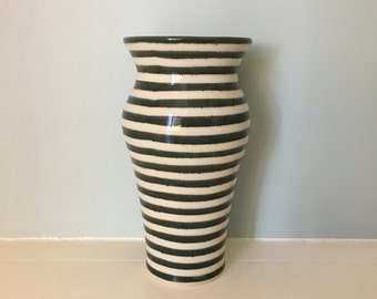 Green and White Striped Vase