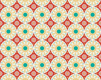 Red Medallion Fabric - Ardently Austen Fabric - Red and Yellow Material