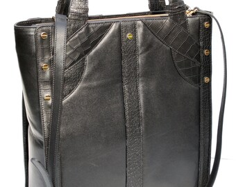 Black Leather Tote  417NYC  CRISS CROSS TOTE