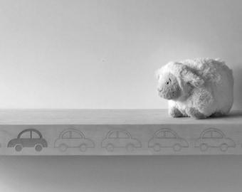 Car- shelf - kids - bookshelf - kids room - grey - green - wall
