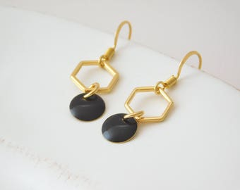 Earrings black gold geometric